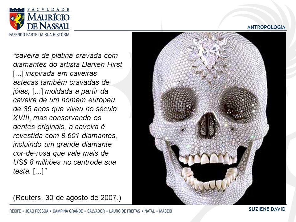 caveira de platina cravada com diamantes do artista Danien Hirst [